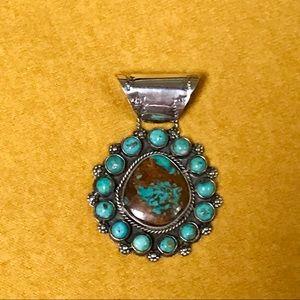 Large Kingman Green Turquoise Pendant